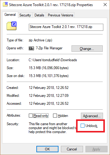Unblock zip files